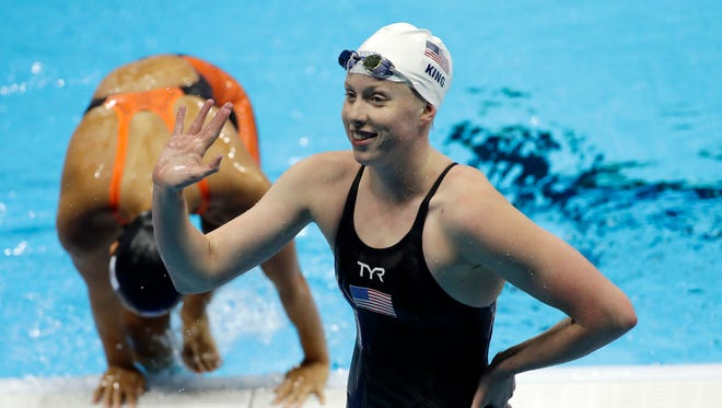 United States' Lilly King waves after competing in a heat of the women's 200-meter breaststroke during the swimming competitions at the 2016 Summer Olympics, Wednesday, Aug. 10, 2016, in Rio de Janeiro, Brazil.