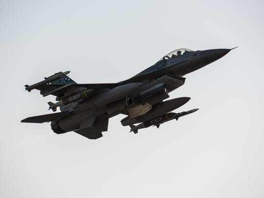 A Vermont Air National Guard F-16 Fighting Falcon assigned to the 134th Expeditionary Fighter Squadron takes off at the 407th Air Expeditionary Group in December. The 134th EFS is flying combat missions for Operation Inherent Resolve to support Iraqi Security Forces.