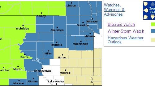 Much of South Dakota is under some sort of winter storm warning over the Christmas 2016 weekend.