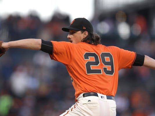 San Francisco Giants pitcher Jeff Samardzija works against the San Diego Padres during the first inning of a baseball game Friday, April 28, 2017, in San Francisco. (AP Photo/Ben Margot)
