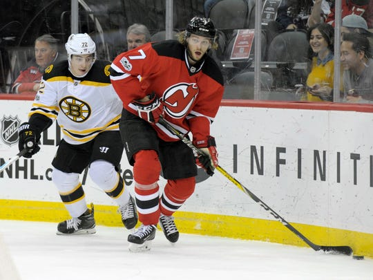 The Devils, still missing captain Andy Greene and John Moore, are relying on Jon Merrill (7) to log major minutes and play against the opponent's top players.