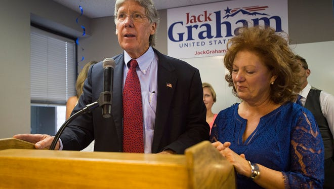 Jack Graham gives his concession speech for the GOP nomination for U.S. Senate Tuesday night.