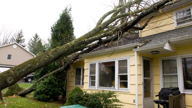 Residential home damage caused by trees falling on a roof.