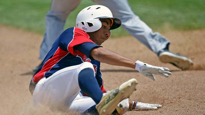 Southern California Renegades' Riley Dent slides in to third base on Wednesday in Game 17 of the Connie Mack World Series against the Midland Redskins at Ricketts Park in Farmington.