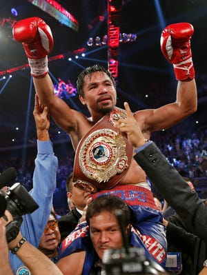 Manny Pacquiao after defeating Brandon Rios in their WBO international welterweight title fight Sunday, Nov. 24, 2013, in Macau. Pacquiao defeated Rios by unanimous decision.