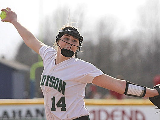 Madison's Sloan Kiser, left, and Mackenzie Mullins pitching during a game at Ontario.