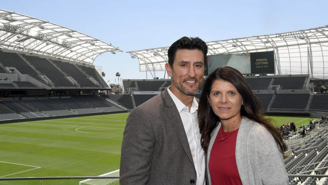 LAFC co-owners Nomar Garciaparra (left) and Mia Hamm Garciaparra pose earlier this year. The pair is coming to Jackson, Mississippi on May 22 for the Clarion Ledger Sports Awards.