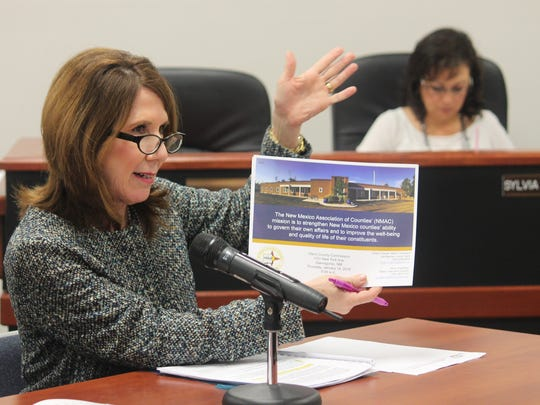 In this file photo from the Jan. 14 county commission meeting, New Mexico Association of Counties President Sharon Stover speaks to Otero County Commissioners about their organization and how they help counties in New Mexico.