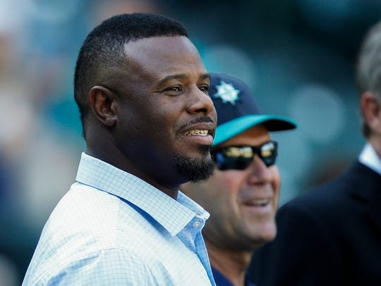 The No. 24 jersey of Ken Griffey Jr., left, was the