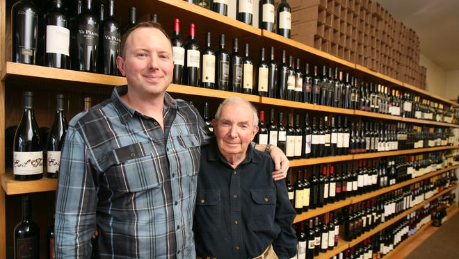 Scott Wunderlich and his father Arthur at Bedford Wine Merchants in Bedford.