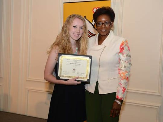 Rachel McGowan of Pennsauken High School in Camden County accepted a certificate of achievement from McDonald's Owner/Operator Anna Ford-Keels at an awards celebration held on June 16 at the Hyatt at The Bellevue in Philadelphia.