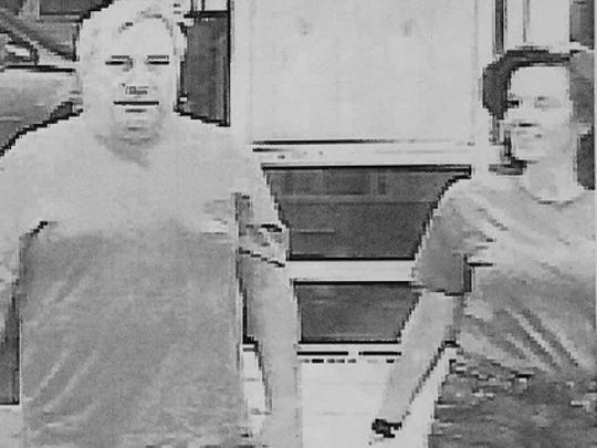 """Court papers: Laura Rideout, 45, and her boyfriend, Paul """"P.J."""" Tucci, shown entering the Walmart on Hudson Avenue to purchase a tarp, bungee cords and drain cleaner."""