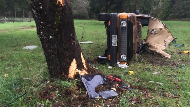 A rollover crash in Linn County left one Mill City woman dead and her passenger injured Tuesday afternoon.
