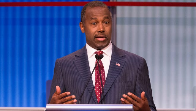Republican presidential candidate Ben Carson speaks during the first Republican presidential debate at the Quicken Loans Arena Thursday, Aug. 6, 2015, in Cleveland.