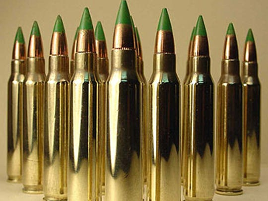 A display of 5.56 NATO armor-piercing bullets – so-called