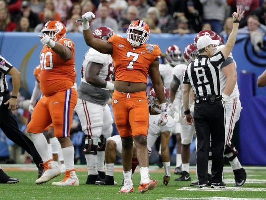 Clemson defensive end Austin Bryant reacts after a