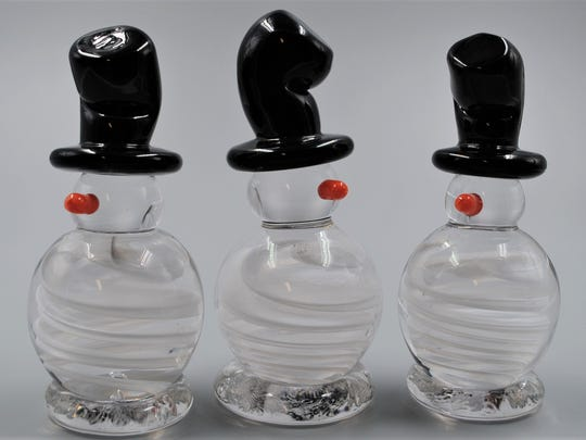 Springfield Hot Glass Studio, operated by the Bloodworth family of glass-blowers for many years, offers Snowman with Top Hat figures for $40, along with other Christmas and holiday items and objects for year-round use.