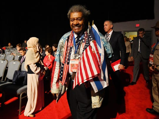 Boxing promoter Don King enters the hall before the first presidential debate at Hofstra University between Democratic presidential candidate Hillary Clinton and Republican presidential candidate Donald Trump.
