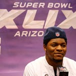 New England Patriots outside linebacker Jamie Collins speaks during media day for Super Bowl XLIX at US Airways Center in Phoenix. Collins was a standout at Southern Miss.