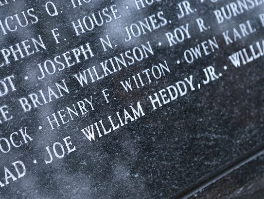 Officer Joe William Heddy's name on the Fraternal Order