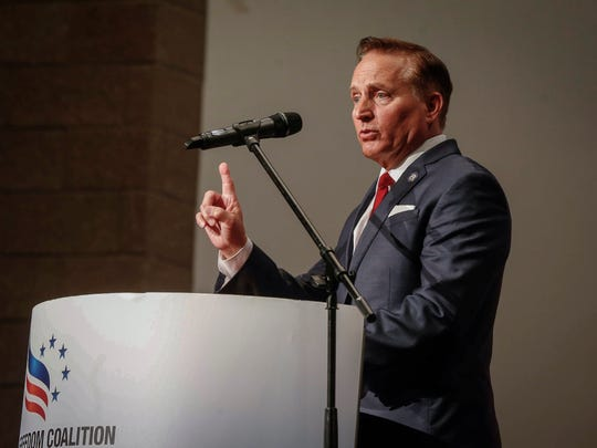 Iowa Secretary of State Paul Pate speaks during the Faith and Freedom Coalition Saturday, May 12, 2018, at Walnut Creek Church in Windsor Heights.