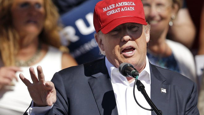In this May 7, 2016 photo, Republican presidential candidate Donald Trump speaks at a rally in Lynden, Wash.