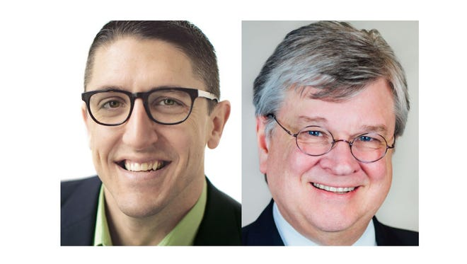 Appleton mayoral candidates Josh Dukelow, left and Tim Hanna.