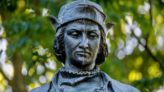 The Christopher Columbus statue by Alfons Pelzer on June 12, 2020 in Upper Bradley Park.