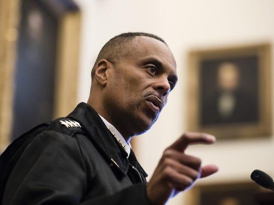 Philadelphia Police Commissioner Richard Ross speaks during a news conference at City Hall in Philadelphia, Thursday, Jan. 17, 2019. (AP Photo/Matt Rourke)