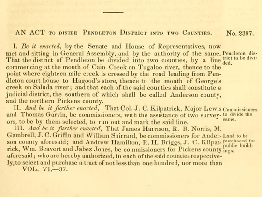This 1826 act by the South Carolina General Assembly,