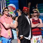 """Andy Samberg, T-Pain and Akiva Schaffer of The Lonely Island perform during """"The Big Live Comedy Show"""" presented by YouTube Comedy Week held at Culver Studios on May 19, 2013 in Culver City, California."""