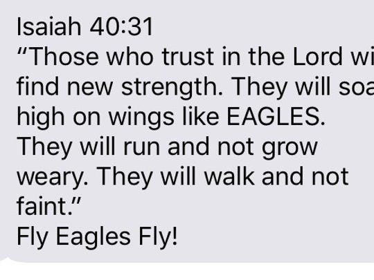 The bible verse sent by former Calvary and Louisiana Tech football player Hayden Slack. The group text includes Doug Pederson, the head coach of the Philadelphia Eagles.