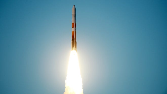 A United Launch Alliance Delta IV rocket lifts off from Cape Canaveral Air Force Station Thursday, May 15, 2014.