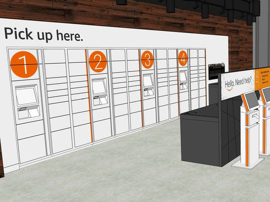 Rendering of the Amazon.com package pickup center that will open in the fall of 2017 in the EMU Student Center on the campus of Eastern Michigan University in Ypsilanti.
