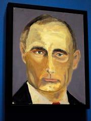 A portrait of Russian President Vladimir Putin painted