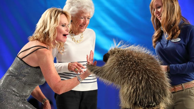 Sharon Baltzell, Annette Smith 'raising the paw' with Mr. Prickles and Keeper Rebecca