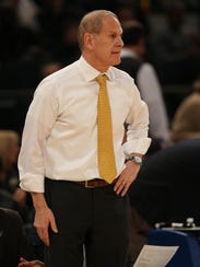 Coach John Beilein watches from the bench during Michigan's Big Ten tournament semifinal March 3, 2018 at Madison Square Garden in New York.