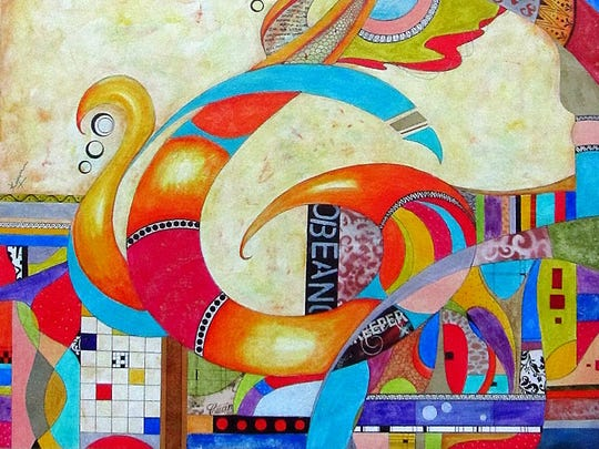 """Inspired by the Sinhalese alphabet, my favorite work is an abstract mixed media design of the letter """"R"""" in my native language. This particular piece taught me to be brave and go out of my comfort zone."""