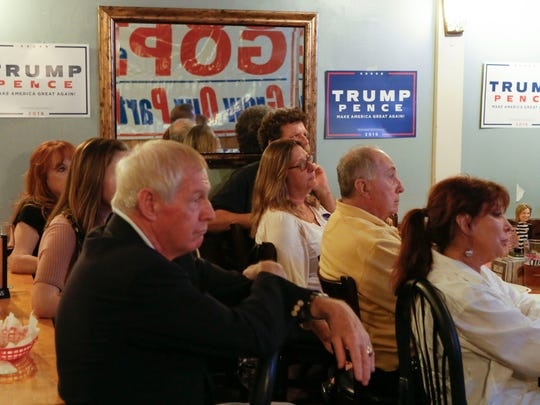 Donald Trump supporters gather at Gallucio's Italian Restaurant in Wilmington on Wednesday for the final presidential debate before Election Day.