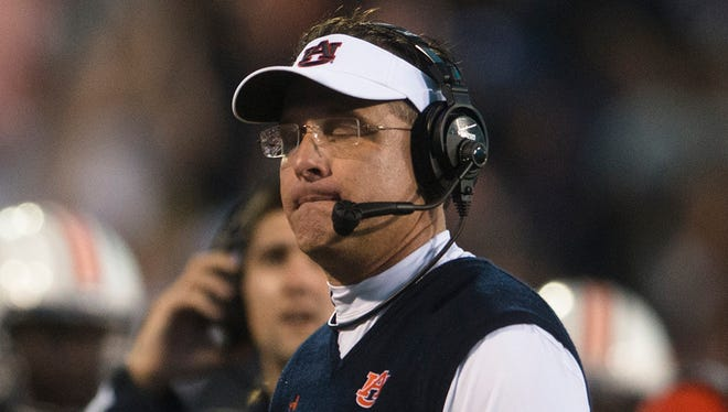 Auburn coach Gus Malzahn was not thinking about the College Football Playoff following his team's loss to Mississippi State on Saturday.