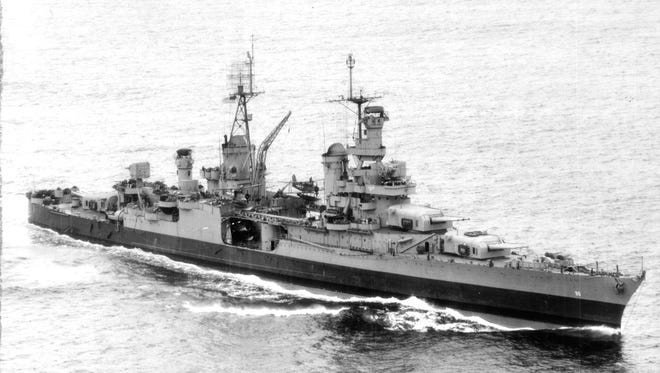 Overall of USS Indianapolis. Official U.S. Navy Photo. When the cruiser USS Indianapolis was sunk no one knew about it for four days. Hundreds of sailors died in the shark-infested waters until a Navy PBY search and rescue plane piloted by Hoosier Adrian Marks discovered the bodies.