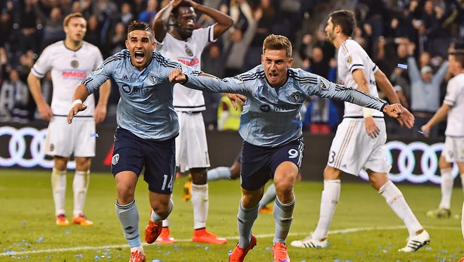 Sporting KC forward Krisztian Nemeth (9) reacts after scoring the game winning goal against the Philadelphia Union during the second half at Sporting Park. Sporting KC defeats Philadelphia Union 3-2.