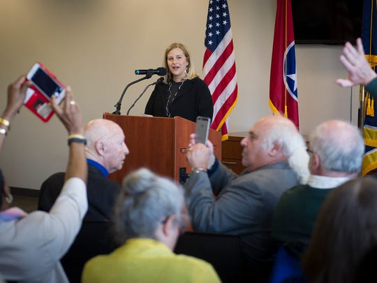 Nashville Mayor Megan Barry speaks during a press conference about affordable housing at the Midtown Hills Police Precinct, Monday, April 11, 2016, in Nashville, Tenn.