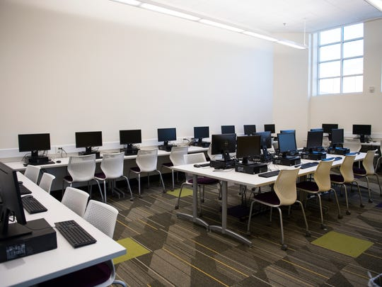 A computer lab in the new media center at Legacy Charter