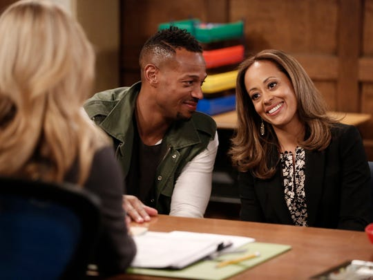 "Left to right, Marlon Wayans as Marlon, Essence Atkins as Ashley in the NBC show ""Marlon."""