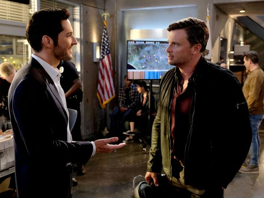 Lucifer (left, Tom Ellis) meets Marcus Pierce (Tom