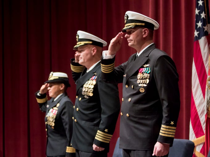 Rear Adm. Bette Bolivar, left to right, Capt. Todd