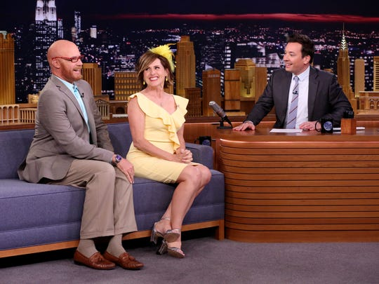 """Comedians Will Ferrell, left, and Molly Shannon as """"Cord and Tish"""" during an interview with host Jimmy Fallon on May 16, 2018."""