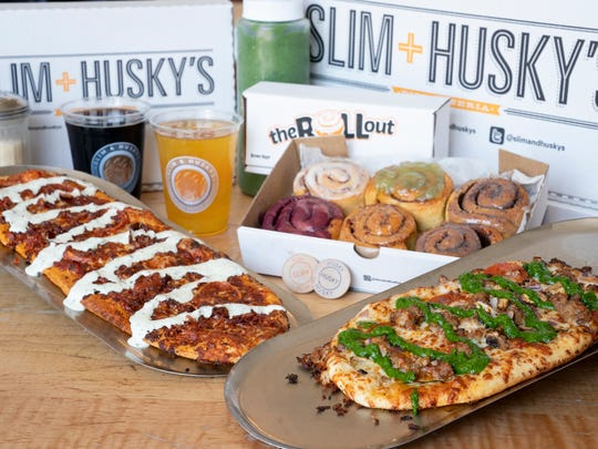 Slim & Husky's offers a selection of specialty pizzas, craft beers and, from their second Nashville location called The Rollout, cinnamon rolls.
