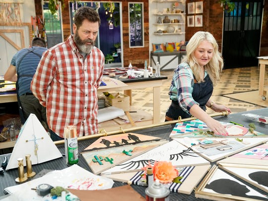 """Pictured (L-R) are Nick Offerman (host) and Joanna Gick (contestant) on 'Making It', """"You Crafty"""" Episode 101 on NBC."""